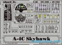 Photo-etched set 1/48 A-4C Skyhawk, for Hasegawa kit