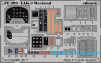 Photo-etched set 1/48 YAK-3 interior Color, Weekend Eduard