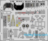 Photo-etched set 1/48 Yak-3 interior, for Zvezda kit