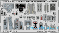 Photo-etched set 1/48 MiG-29 Fulcrum 9-13 interior Color, for Great Wall Hobby kit