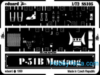 Photo-etched set 1/72 P-51B Mustang, for Revell kit