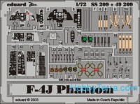 Photo-etched set 1/72 F-4J Phantom Color, for Hasegawa kit