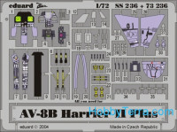 Photo-etched set 1/72 AV-8B Harrier II Plus Color, for Hasegawa kit