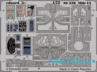 Photo-etched set 1/72 Mig-15 Color, for HobbyBoss kit
