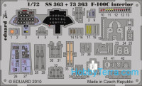 Photo-etched set 1/72 F-100C interior Color, for Trumpeter kit