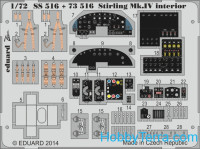Photo-etched set 1/72 Stirling Mk.IV interior (self adhesive), for Italery kit