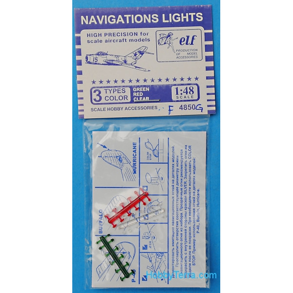 Navigation lights: green, red, clear, 12x3 pcs.