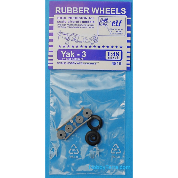 Rubber wheels 1/48 for Yak-3
