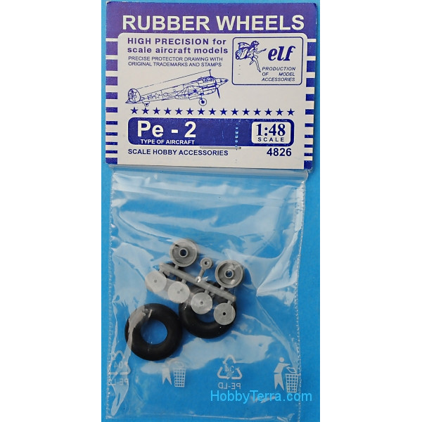Rubber wheels 1/48 for Pe-2