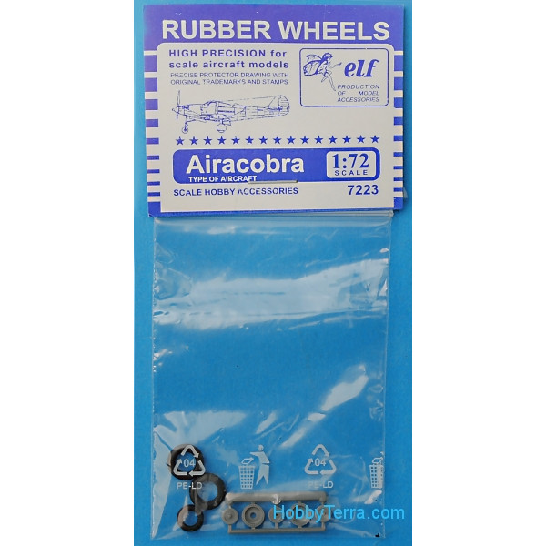 Rubber wheels 1/72 for P-39 Airacobra