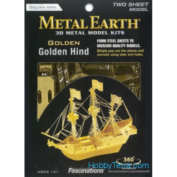 3D metal puzzle. Golden Hind