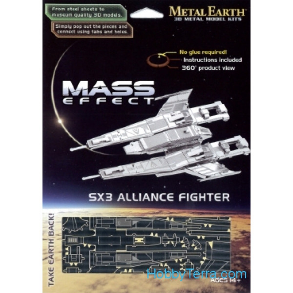 3D metal puzzle. Mass Effect. SX3 Alliance Fighter