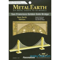 "3D metal puzzle. Architecture ""Gold Golden Gate Bridge"""