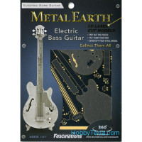 3D metal puzzle. Electric Bass Guitar