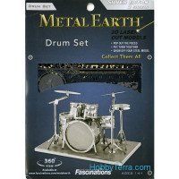 3D metal puzzle. Drum Set