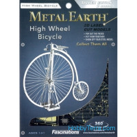 3D metal puzzle. High Wheel Bicycle