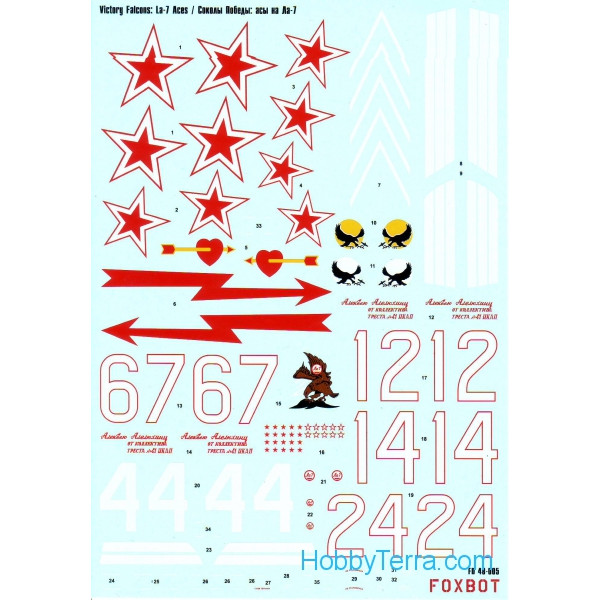 Decal for La-7 aces, victory falcons