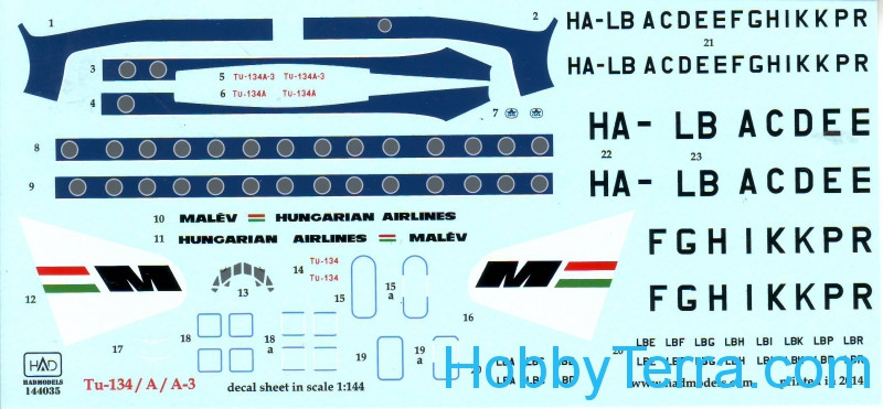 Decal 1/144 for Tu-134/134A/134A-3 Malev Airlines