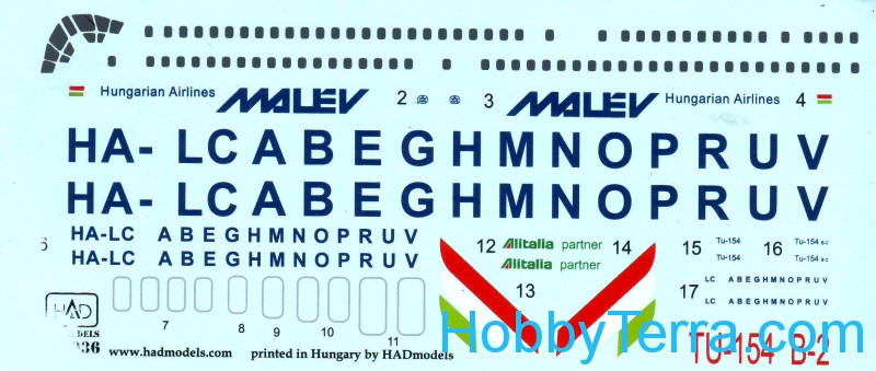 Decal 1/144 for Tu-154 B-2 Malev Airlines
