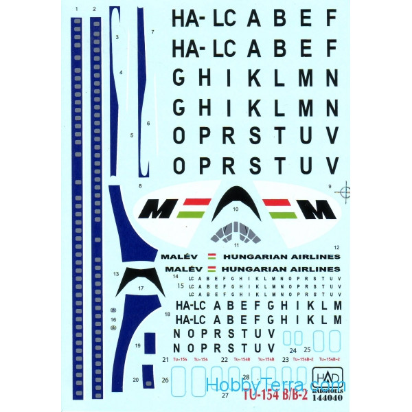 Decal 1/144 for Tu-154 B/B-2 Malev Airlines