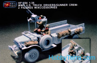 WWII US Truck driver/Gunner crew with accessories (resin)