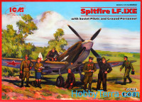 Spitfire LF.IXE with Soviet pilots & ground personnel