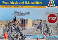 Road block and U.S. soldiers