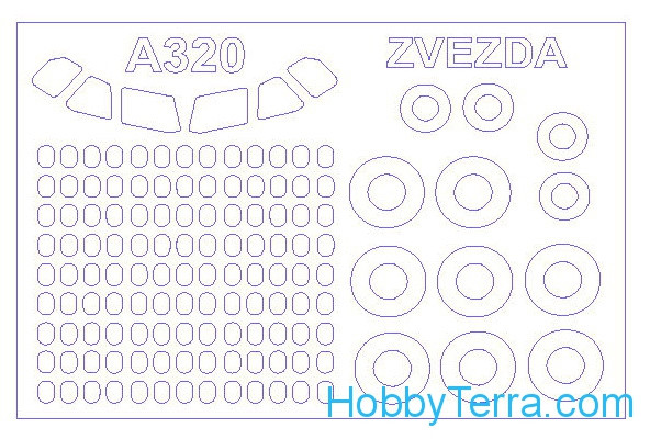 Mask 1/144 for Аirbus 320 and wheels masks, for Zvezda kit