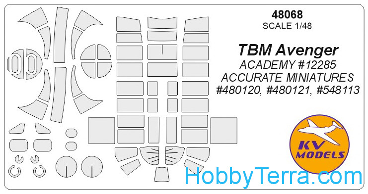 "KV Models  48068 Mask 1/72 for TBM ""Avenger"", for Academy/Accurate Miniatures kits"