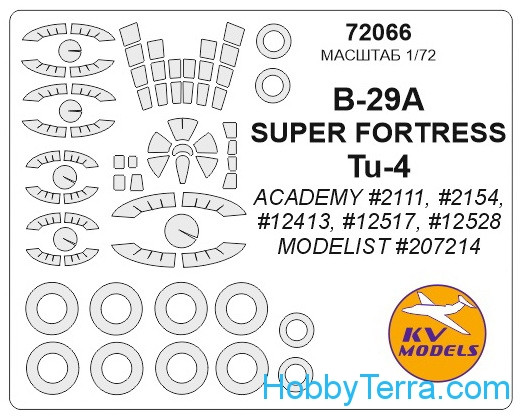 Mask 1/72 for Boeing B-29A/B / Tu-4 and wheels masks, for Academy kit