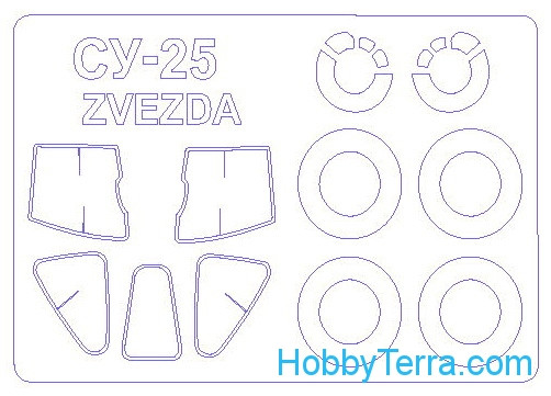 Mask 1/72 for Su-25 and wheels masks, for Zvezda kit