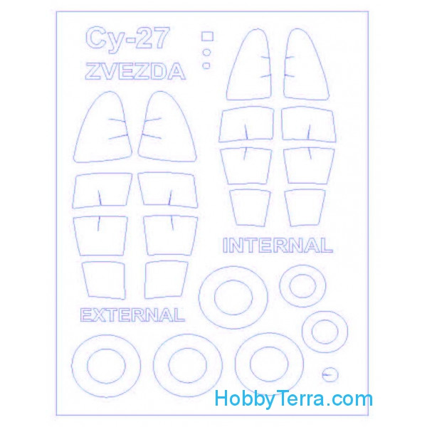 Mask 1/72 for Su-27 (Double sided) and wheels masks, for Zvezda kit