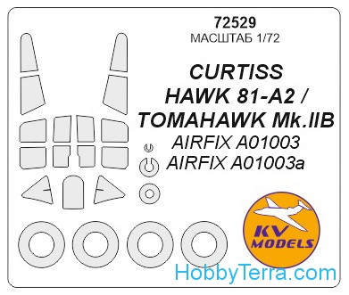 Mask 1/72 for Curtis Hawk 81-A-2 and wheels masks, for Airfix kit