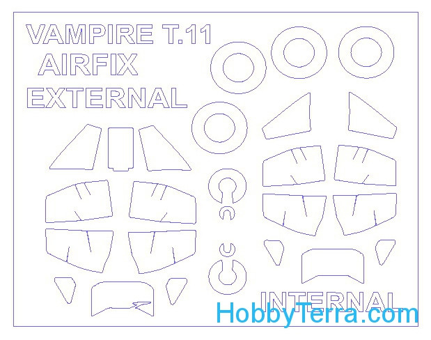 Mask 1/72 for De Havilland Vampire T.11 (Double sided) and wheels masks, for Airfix kit