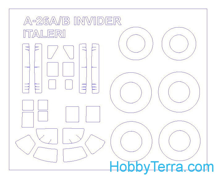 Mask 1/72 for A-26A/B Invider and wheels masks, for Italeri kit