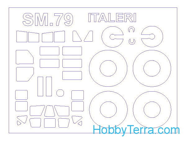 Mask 1/72 for SM.79 Spaviero and wheels masks, for Italeri kit