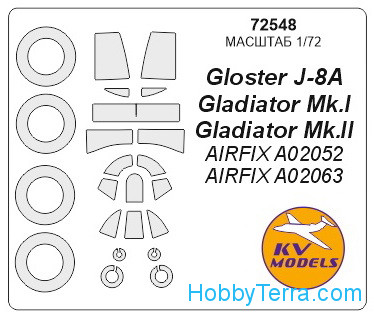 Mask 1/72 for Gloster Gladiator and wheels masks, for Airfix kit