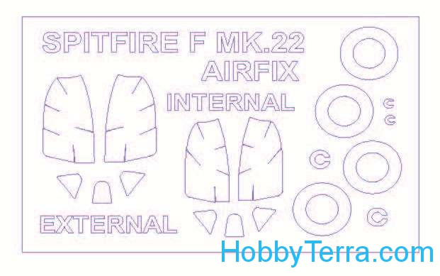 Mask 1/72 for Supermarine Spitfire Mk.22 (double sided)  and wheels masks, for Airfix kit