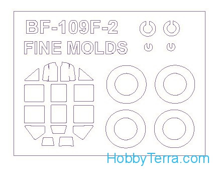 Mask 1/72 for Bf-109 F-2 and wheels masks, for Fine Molds kit