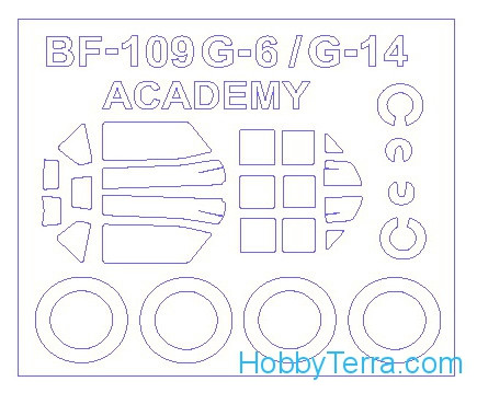 Mask 1/72 for Bf-109 G-6 / G-14 and wheels masks, for Academy kit
