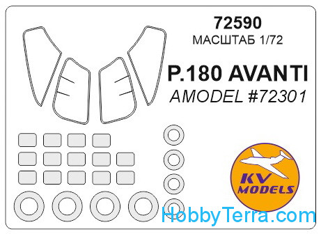 Mask 1/72 for Piaggio P.180 Avanti and wheels masks, for Amodel kit