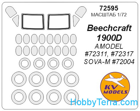 Mask 1/72 for Beechcraft 1900D and wheels masks, for Amodel kit