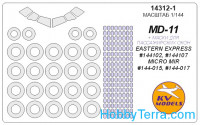 Mask 1/144 for MD-11 (with side windows on fuselage) + wheels, for Eastern Express kit