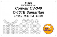 Mask 1/144 for Convair CV-340/C-131B Samaritan + wheels masks (RODEN)