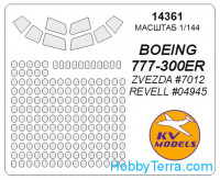 Mask 1/144 for Boeing 777-300ER, for Zvezda kit