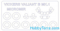 Mask 1/144 for Vickers Valiant Mk.1B and wheels masks, for Micro-mir kit
