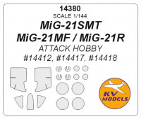 Mask 1/144 for MiG-21SMT/MiG-21MF/MiG-21R + wheels masks (Attack Hobby)