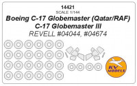Mask 1/144 for Boeing C-17 Globemaster (Qatar/RAF)/C-17 Globemaster III and wheels masks (Revell)
