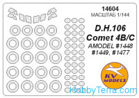 Mask 1/144 for DH.106 Comet B/C (with side windows on fuselage) and wheels masks, for Amodel kit
