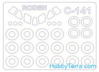 Mask 1/144 for C-141B Starlifter and wheels masks, for Roden kit